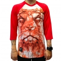 Camiseta 3/4 LRG Lion Shocker - Vermelha