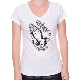 Camiseta Feminina Santa Cruz Pray for me - Branca