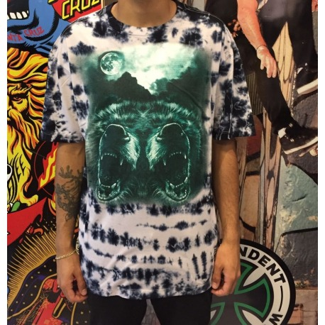 Camiseta Grizzly Roar At The Moon Tie Dye