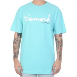 Camiseta Diamond Og Script Aqua