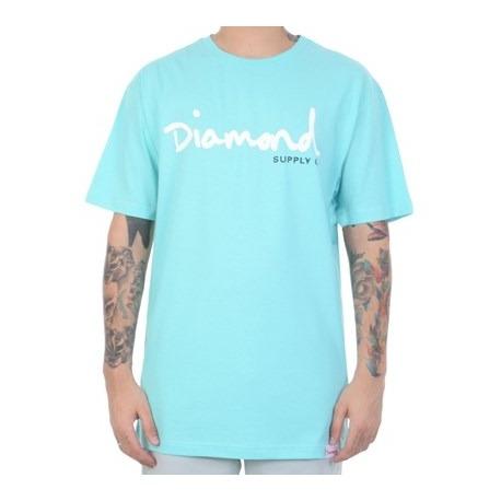 Camiseta Diamond Script G Aqua