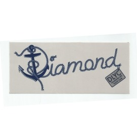 Adesivo Diamond Yacht Script Cinza - (7,5cm x 17,5cm)