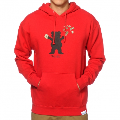 Moletom Primitive x Grizzly Canguru Brand Bear - Vermelho