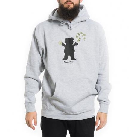 Moletom Canguru Primitive x Grizzly Brand Bear - Cinza