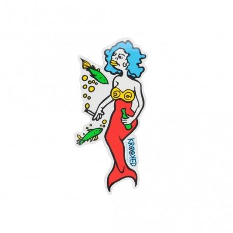 Adesivo Krooked Mermaid Blue/Red M - (16cm x 7,5cm)