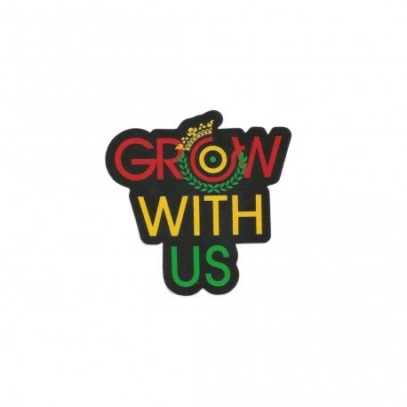 Adesivo Organika Grow With Us Rasta - (8,5cm x 8cm)