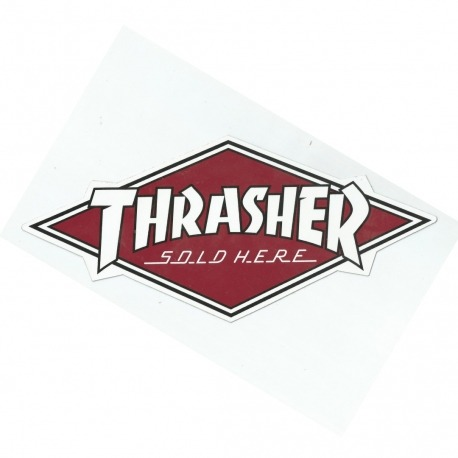 Adesivo Trasher Sold Here Burgundy - (30cm x 14cm)