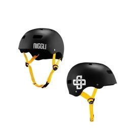Capacete Niggli Iron Profissional - Preto fosco fita amarela